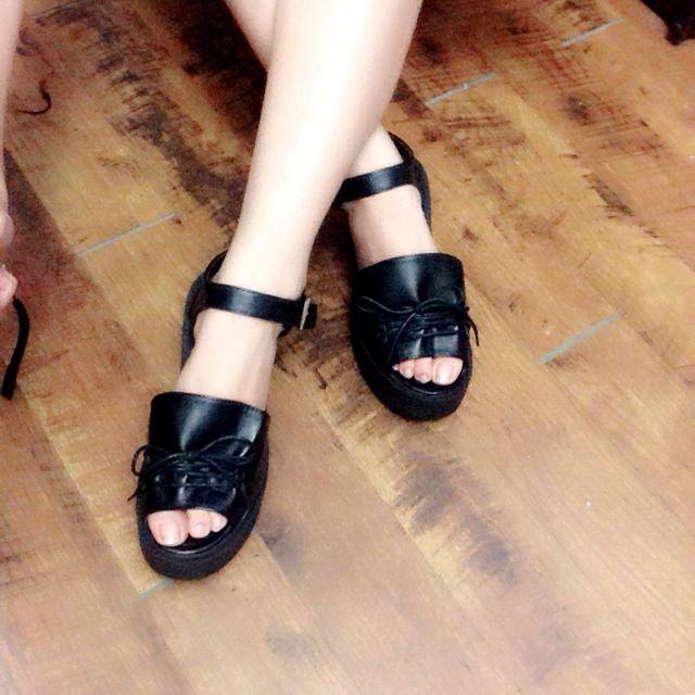黑色厚底鞋✨  尺寸38號