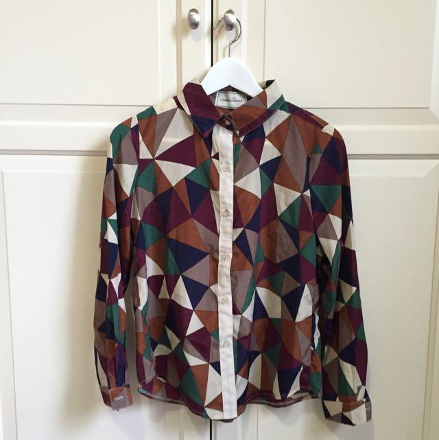 幾何格子復古襯衫