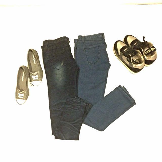 ✨(全新)2件韓版顯瘦牛仔褲