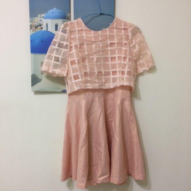 正韓 法朵莉 亮粉橘洋裝