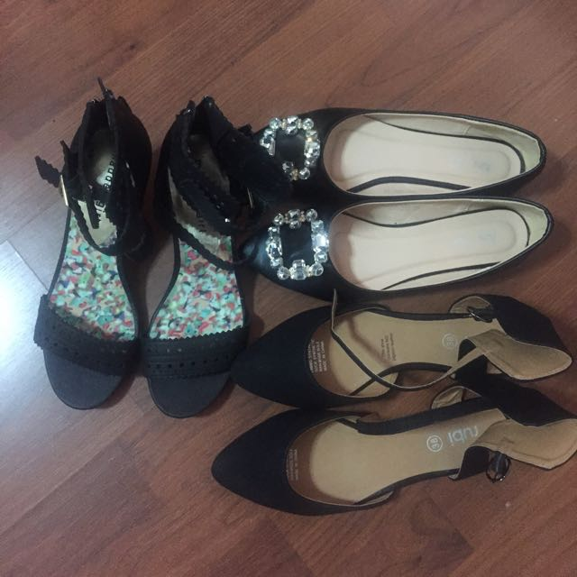 Black Shoes : 3 pairs All For $20