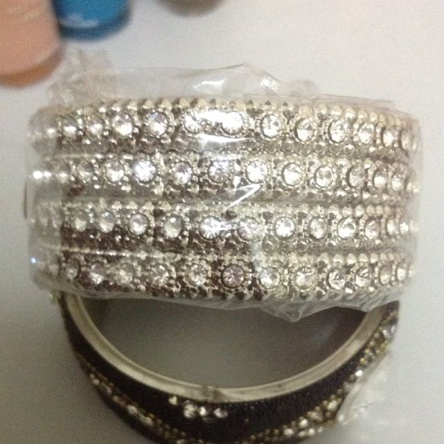 Silver Bangles With White Stones