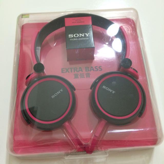 降!Sony MDR-XB400 桃紅 黑 重低音 耳罩耳機