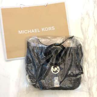 MICHAEL KORS  手提包 包包 黑色荔枝紋牛皮 淺金色金屬配件