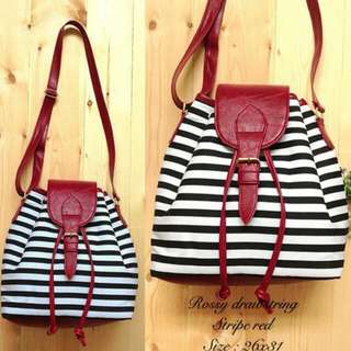 Ready Stock ■ Rossy Stripes Red Black