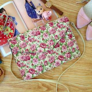Ready Stock ■ Mathilde Envelope Floral Clutch