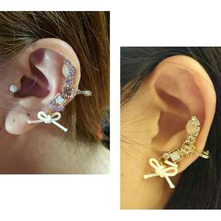 Korea Handmade Earclip  Gems ear clip look fun and trendy. You don't have to worry about having extra ear hole for this😄 just a simple clip on the side of your ear. Come with rubber cushion on the clip side for comfy and anti-slip