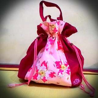 全新日本櫻花大束口提袋 (總高約39cm,面寬約36cm,側面款約13cm)可裝超多物品