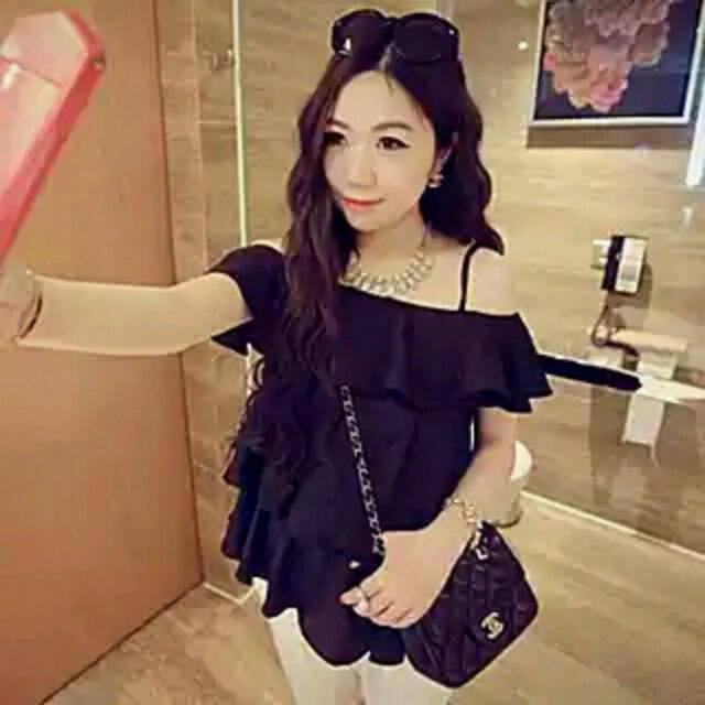 韓國新款女装裝裝甜美性感露肩一字領雪紡衫寬鬆荷葉短袖