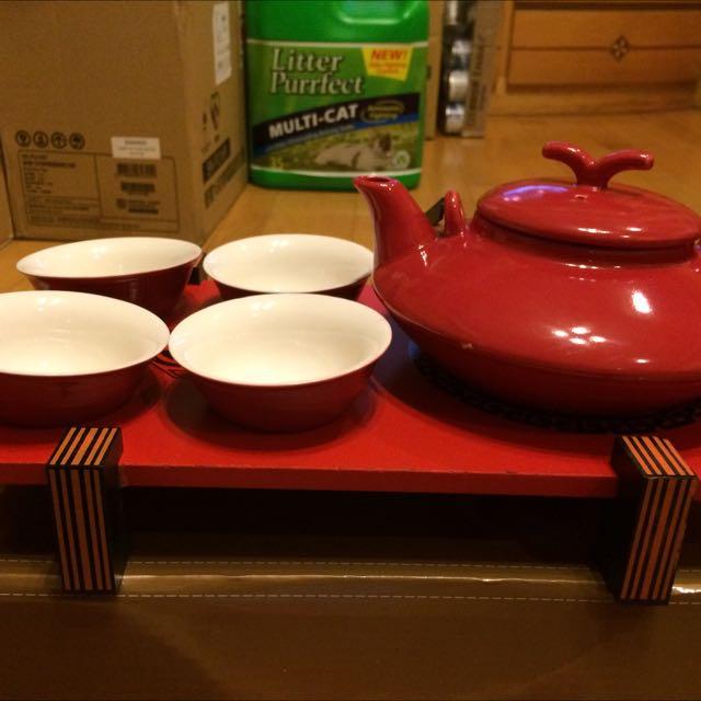 美樂家 富貴紅新骨瓷茶具組