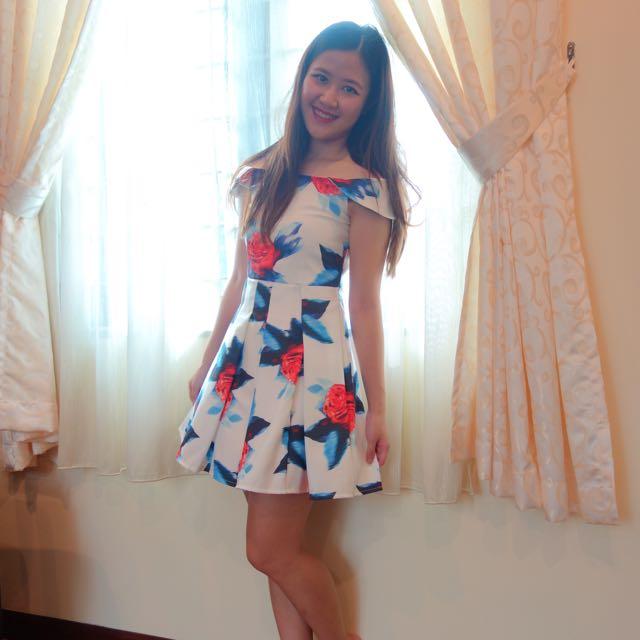 Rose Printed Off Shoulder Dress