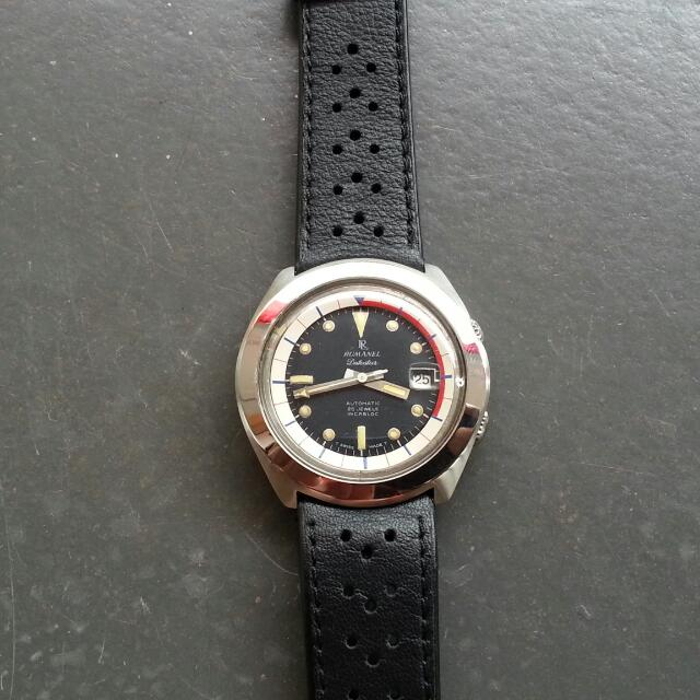 Vintage 70s Swiss Diver ETA Compressor Watch 42mm Rumanel