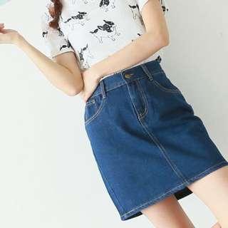 全新預購.韓國高腰牛仔短裙