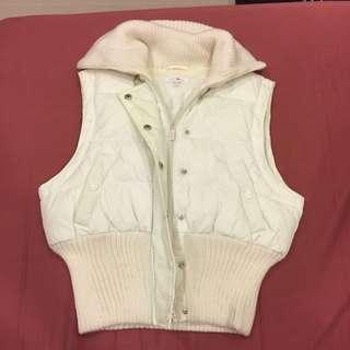專櫃正品 Kookai 白色拉鍊鋪棉超保暖夾克背心