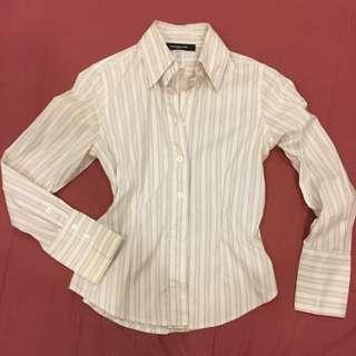 美國購入 Jones New York S號 Stretch 彈性合身腰身版OL 白色直條紋襯衫