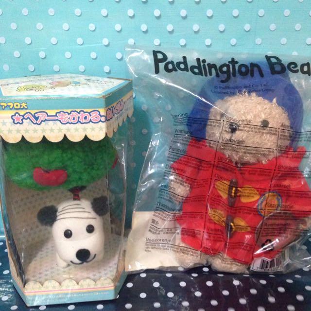 促銷組柏靈頓熊娃娃+BANDAI狗娃娃