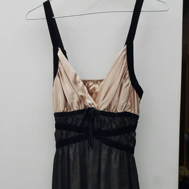 (禮服出清)雙色細肩帶短版晚禮服洋裝