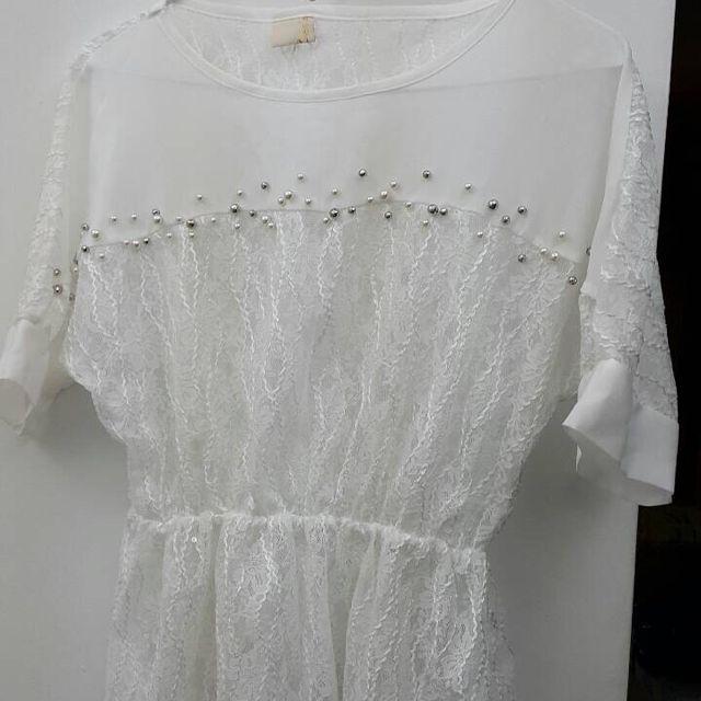 韓國購買春夏洞洞白色上衣
