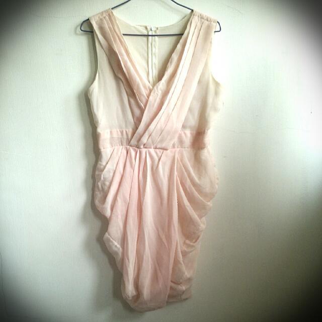 粉色 低胸無袖清新洋裝