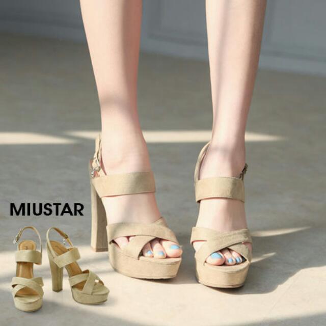 全新 Miu star韓版麂皮高跟鞋24.38