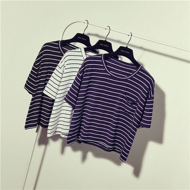 [PO] Cropped Striped Top