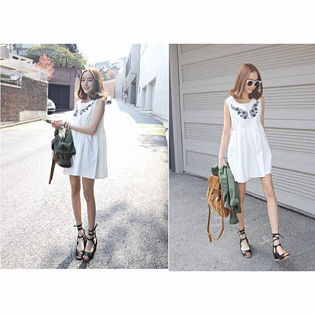 Embroidered Babydoll Dress [PO]
