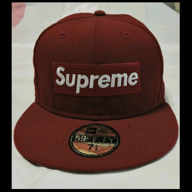 ※二手※(一元起標)Supreme X New Era Baseball Cap Box暗紅色 7 1/4 棒球帽(目前出價最高1000$