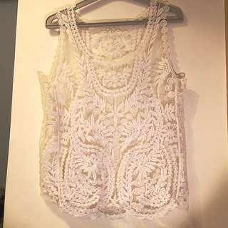 夏日涼感米白色繡花外搭/比基尼罩衫