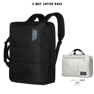 商務三用筆電包 後背包 -灰色