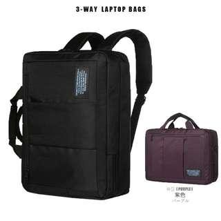 商務三用筆電包 後背包- 紫色