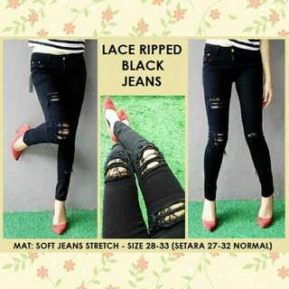 Lace ripped black jeans