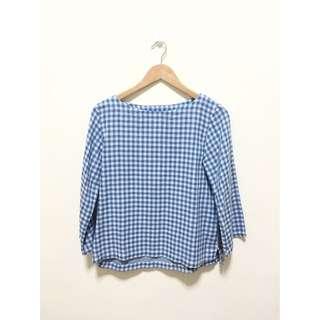 muji checkered boat neck blouse