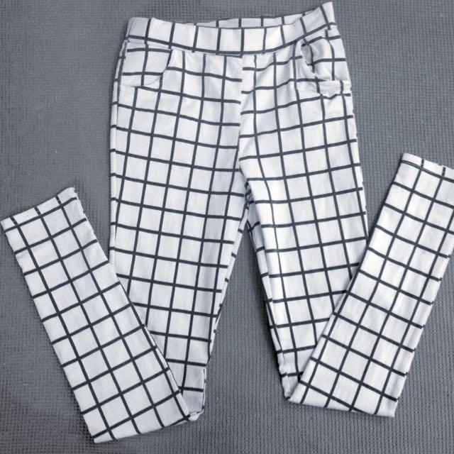 格子白底彈性褲
