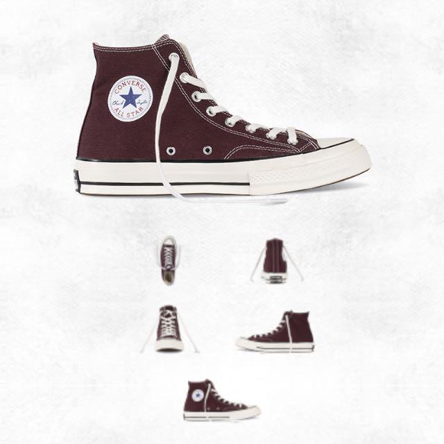 (免運)Converse 酒紅高筒帆布鞋