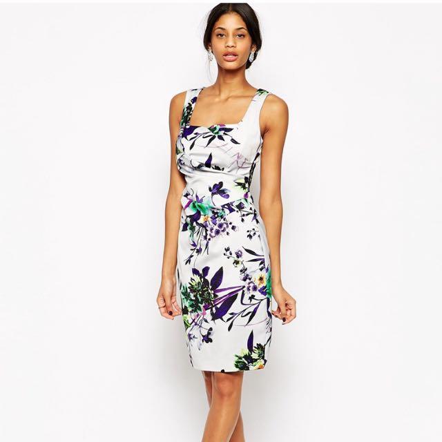 (全新)英國Lipsy 氣質花朵鉛筆裙洋裝VIP Floral Printed Pencil Dress UK6/EU34/US2