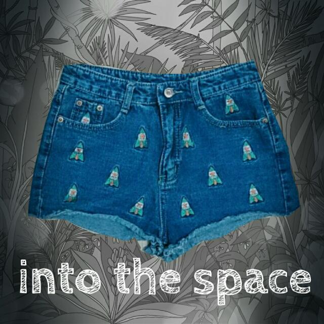 美式刺繡火箭圖案高腰牛仔短褲
