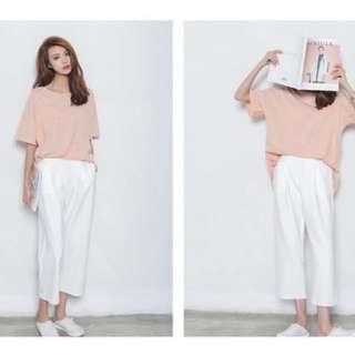 韓國白色鬆緊寬口褲