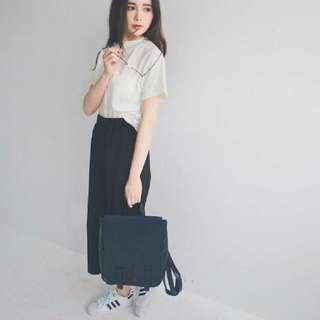 韓國簡約直條鬆緊寬褲