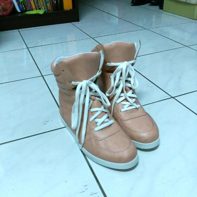 (9成新)高統鞋 粉色37號
