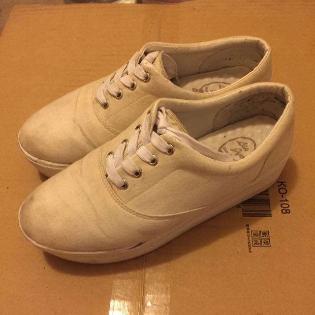 (免運)全白厚底鞋