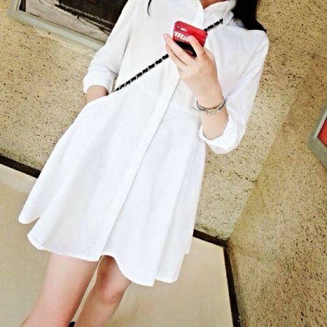 白色連身襯衫✨