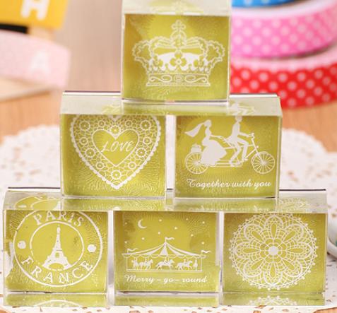 【水晶印章】超美的/ 小清新蕾絲風/典雅花紋方形水晶印章/自己也買了一整組