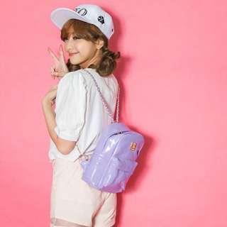 貝思奇粉紫色漆皮後背包