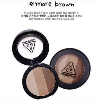 韓國3CE超顯色珠光三色眼影