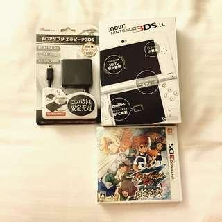全新✨New N3DS LL✨(珍珠白)+遊戲閃電十一人Go時空之石+充電變壓器