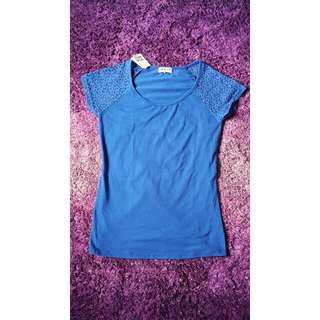 Blue Lace-sleeved T-Shirt