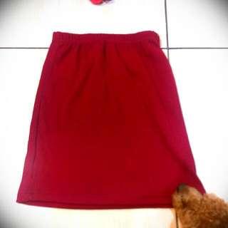 韓版 酒紅色包裙