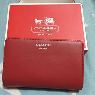 coach 紅色短夾