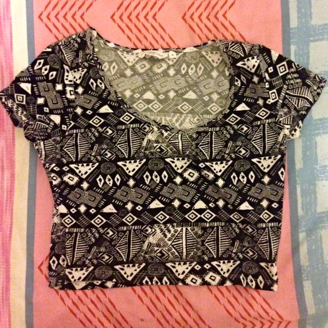 New look Aztec Black And White Crop Top