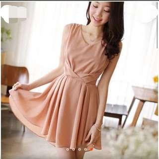 粉嫩色系 前短後長無袖雪紡連身裙